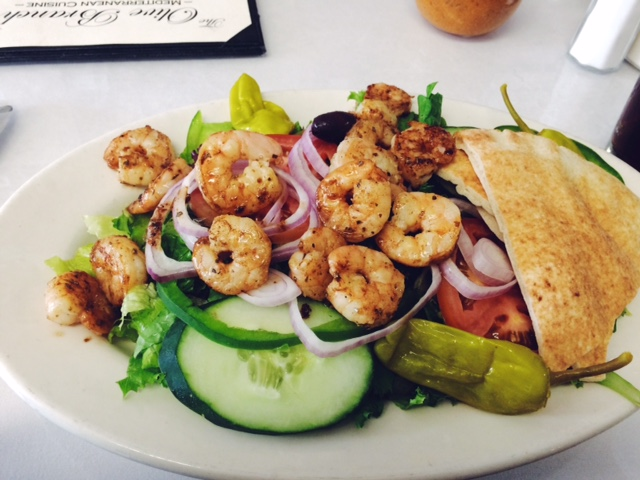 Shrimp Greek Salad at The Olive Branch Mediterranean Restaurant